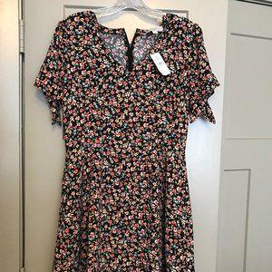 Loft Floral Tie Sleeve Pocket Flare Dress